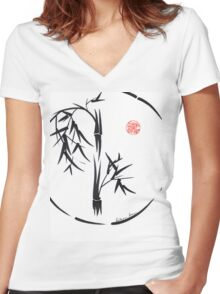 PASSAGE  - Original sumi-e enso ink brush art Women's Fitted V-Neck T-Shirt