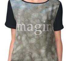 Imagine Blue And Gray Art Chiffon Top