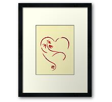 FOREVER YOURS,  Sumi-e Enso Ink Brush Pen Heart Painting Framed Print