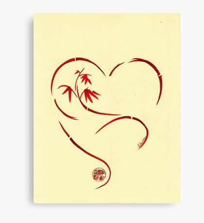 FOREVER YOURS,  Sumi-e Enso Ink Brush Pen Heart Painting Canvas Print