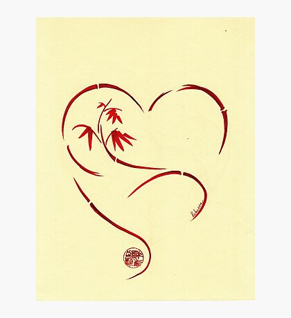 FOREVER YOURS,  Sumi-e Enso Ink Brush Pen Heart Painting Photographic Print