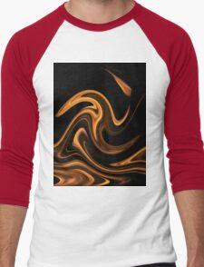 Fire - Flame Background of Golden Yellow Men's Baseball ¾ T-Shirt