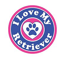 I LOVE MY RETRIEVER GOLDEN DOG HEART I LOVE MY DOG PET PETS PUPPY STICKER STICKERS DECAL DECALS Photographic Print