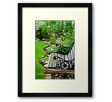 Scroll Garden Bench Scene - Digital Oil Framed Print