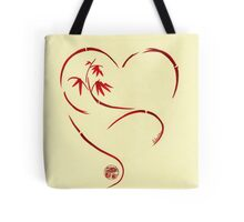 FOREVER YOURS,  Sumi-e Enso Ink Brush Pen Heart Painting Tote Bag