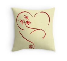 FOREVER YOURS,  Sumi-e Enso Ink Brush Pen Heart Painting Throw Pillow