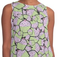Brain Food Zombie Cupcakes in Lime and Pink Contrast Tank
