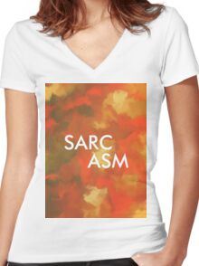 RCA 012 SARCASM Women's Fitted V-Neck T-Shirt
