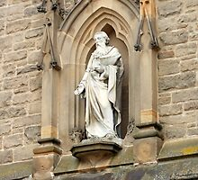 Statue of St. Nicholas on Church in Durham by Kathryn Jones