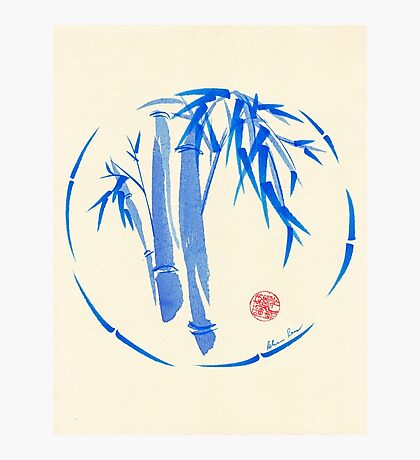 """enso blu""  Original enso sumi-e ink brush pen wash painting Photographic Print"