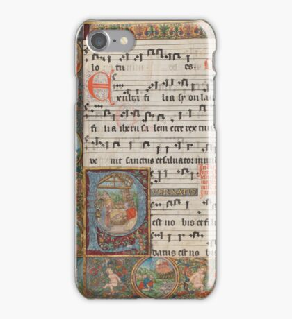 Christmas scene in a 16th century illuminated manuscript iPhone Case/Skin
