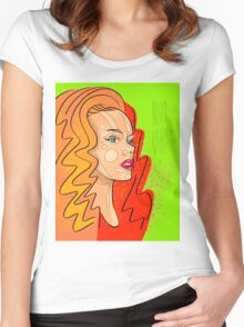 Fashion girl portrait illustration Women's Fitted Scoop T-Shirt
