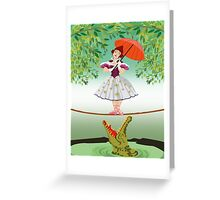 Cute halloween The crocodile girl Deadly circus Greeting Card