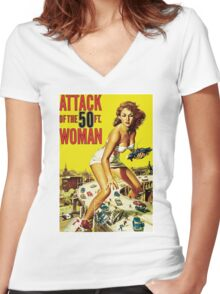 Attack Of The 50ft Woman Women's Fitted V-Neck T-Shirt