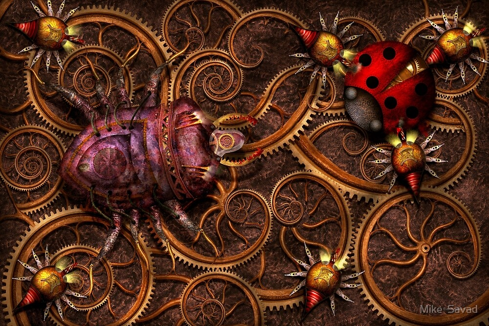 Steampunk - Insect - Itsy bitsy spiders by Mike  Savad