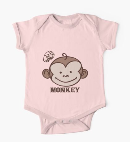 M is for  Monkey - ASL One Piece - Short Sleeve