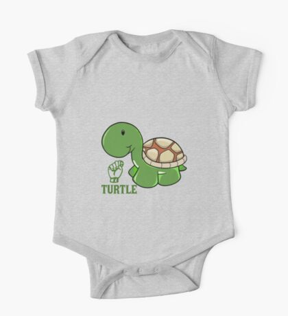 T is for Turtle - ASL One Piece - Short Sleeve