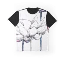 Lotus Red, White and Blue Graphic T-Shirt