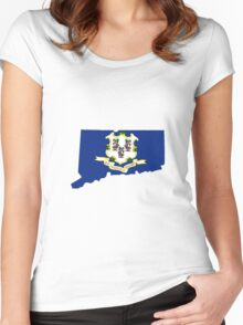 Connecticut (CT) State Flag Inside State, Full Size Version Women's Fitted Scoop T-Shirt