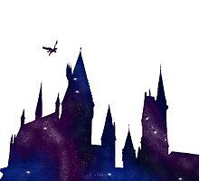 Harry Potter Hogwarts castle and buckbeak by Kzduniak