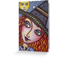 FULL MOON WISHES - Halloween, Witch Greeting Card