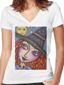 FULL MOON WISHES - Halloween, Witch Women's Fitted V-Neck T-Shirt