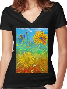 Surreal Field Women's Fitted V-Neck T-Shirt