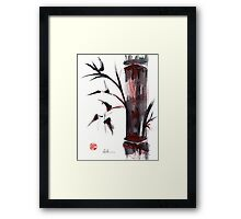 Crimson in the Mist - India ink bamboo wash painting Framed Print