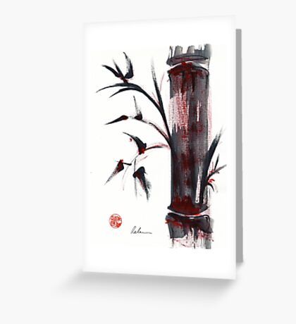 Crimson in the Mist - India ink bamboo wash painting Greeting Card