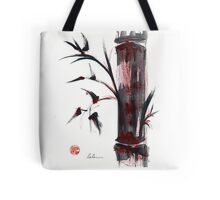 Crimson in the Mist - India ink bamboo wash painting Tote Bag