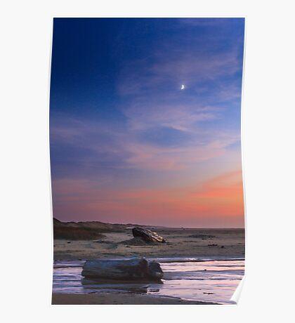Florence Beach Twilight Moon Poster