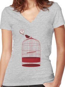 singing bird Women's Fitted V-Neck T-Shirt