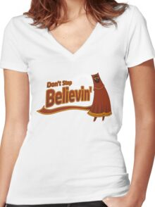 Don't Stop Believin' Women's Fitted V-Neck T-Shirt