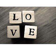LOVE Wooden Letter Blocks Art  Photographic Print