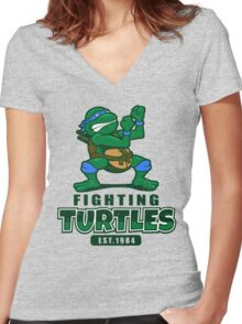 Fighting Turtles - Leonardo Women's Fitted V-Neck T-Shirt