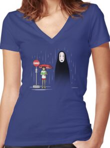 My Lonely Neighbor Women's Fitted V-Neck T-Shirt