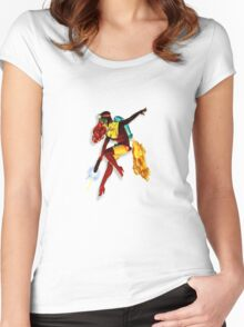 vintage jet pack girl Women's Fitted Scoop T-Shirt