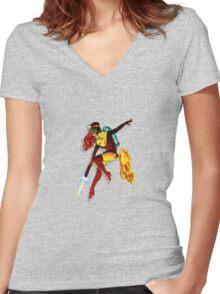 vintage jet pack girl Women's Fitted V-Neck T-Shirt