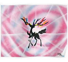 Xerneas: Dazzling Gleam Silhouette Painting Poster