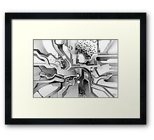 Sunberry - Abstract Watercolor Painting - Black and White Framed Print