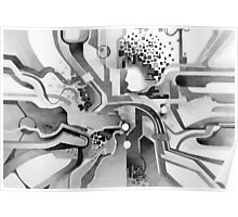 Sunberry - Abstract Watercolor Painting - Black and White Poster