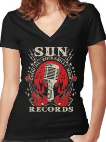 Sun Records : Good Ol' Rockabilly Music Women's Fitted V-Neck T-Shirt