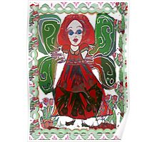 Green Fairy with Floral Border Poster