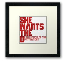 She wants the Destruction of the Patriarchy  Framed Print