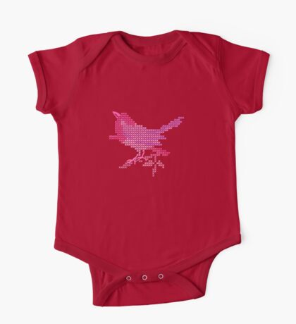Bird Embroidery for Baby Girl One Piece - Short Sleeve