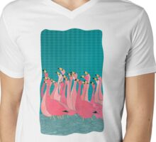 Pink flamingos Mens V-Neck T-Shirt