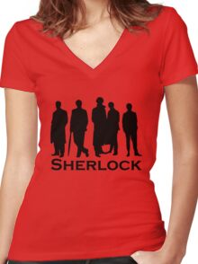 Sherlock Silhouettes  Women's Fitted V-Neck T-Shirt