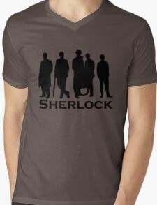 Sherlock Silhouettes  Mens V-Neck T-Shirt