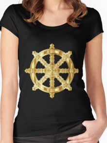 Gold Dharma Wheel Women's Fitted Scoop T-Shirt