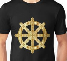 Gold Dharma Wheel Unisex T-Shirt